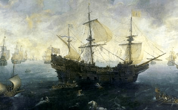 The Spanish Armada off the English Coast, by Cornelis Claesz. van Wieringen, ca. 1620