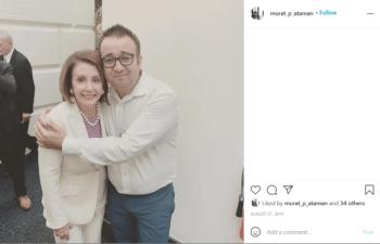 Murat Ataman embracing Nancy Pelosi