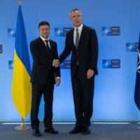 Ukraine's President Volodymyr Zelensky with NATO Secretary General Jens Stoltenberg. Photo: Twitter/Zelensky