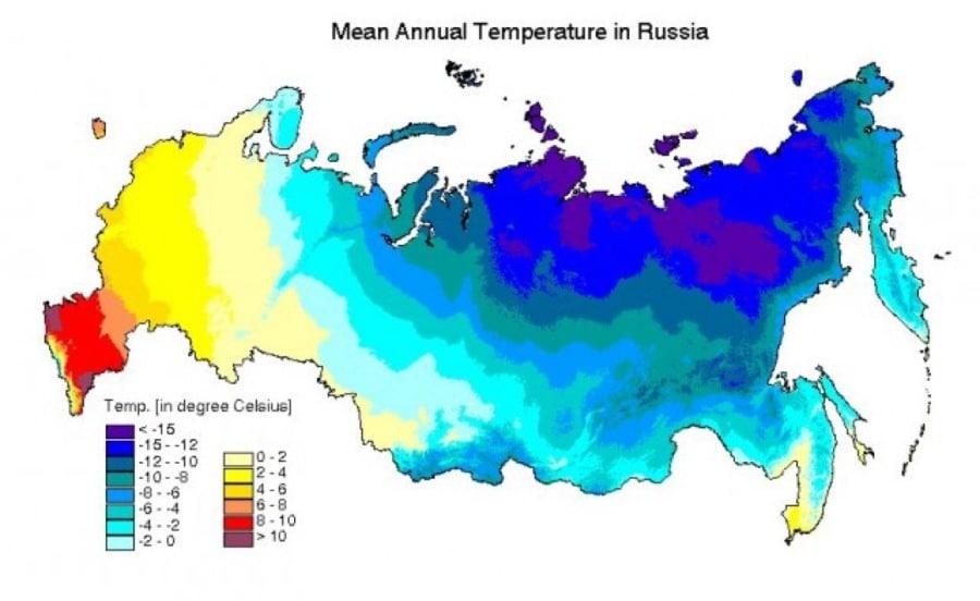 Mean annual temperature in Russia