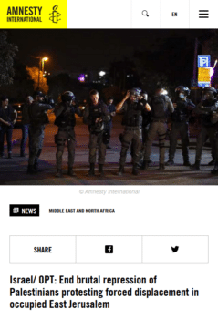 | Amnesty International 51021 declared unequivocally that Israeli security forces have used repeated unwarranted and excessive force against Palestinian protesters in occupied East Jerusalem | MR Online