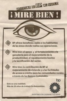 | BP is watching you Leaflet from the corporation to residents of the Casanare oilfield May 2010 | MR Online