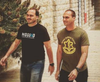 | Jair Bolsonaros sons pictured wearing shirts glorifying the Israeli military Photo | Twitter | MR Online