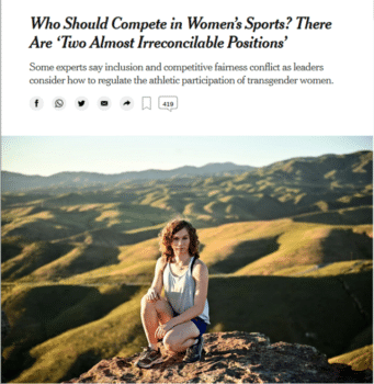 | The New York Times 81820 referred to inclusion of trans girls in athletics as decidingto split high school athletes by gender identity | MR Online