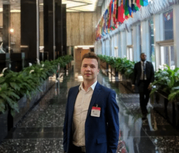 Belarusian regime-change activist Roman Protasevich in the US State Department in April 2018