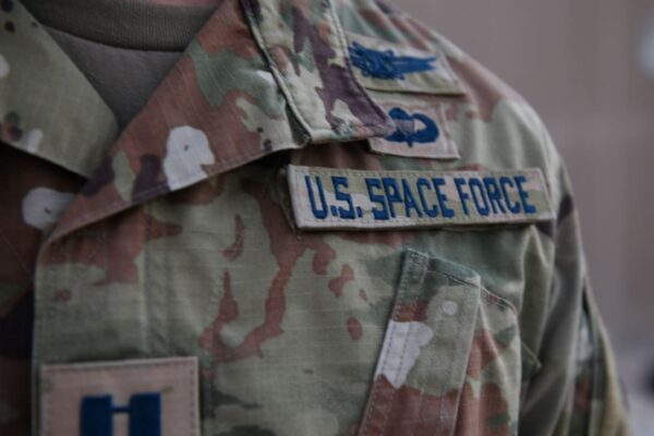 Space Force officer displays new service tapes
