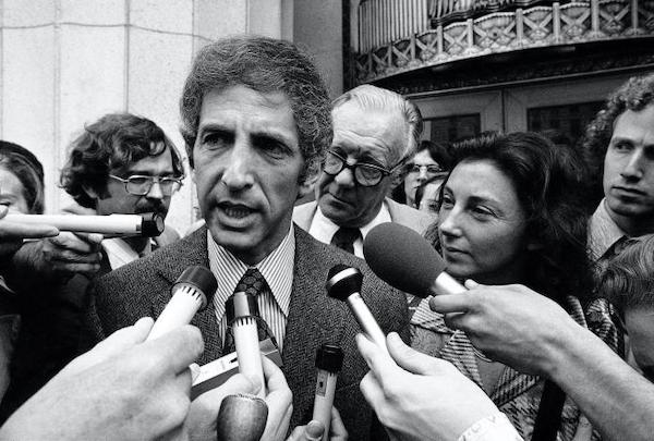 Daniel Ellsberg, co-defendant in the Pentagon Papers case, talks to the media outside the Federal Building in Los Angeles on April 28, 1973. [Source: nbcnews.com]