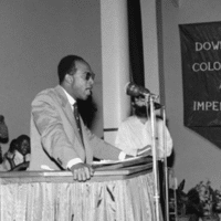 Frantz Fanon speaking at the All African People's Conference (AAPC), which was held in Accra, Ghana, between 5 and 13 December 1958.