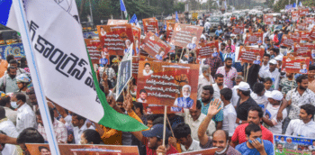 'Save Vizag Steel Plant' rally against the privatisation of the Vizag steel plant in Visakhapatnam. Photo: PTI