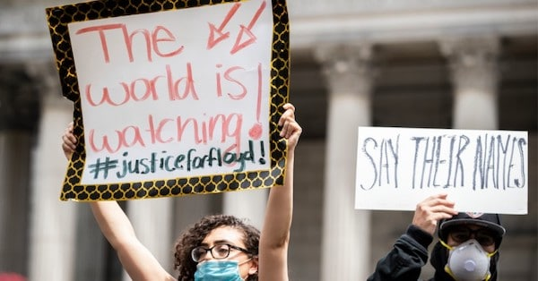 Protesters wearing masks and holding up signs at a racial justice protest in Foley Square in New York City on June 2, 2020, USA. (Photo: Ira L. Black/Corbis via Getty Images)