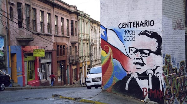 A mural of Salvador Allende in a street in Santiago de Chile, on the occasion of his birth centenary.