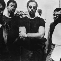 Eldridge Cleaver with members of the Black Panther Party