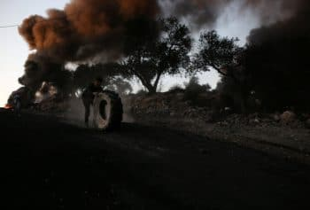| PALESTINIANS BURN TIRES DURING A NIGHT DEMONSTRATION AGAINST THE EXPANSION OF A JEWISH SETTLEMENT ON THE LANDS OF BEITA VILLAGE NEAR THE OCCUPIED WEST BANK CITY OF NABLUS ON JUNE 23 2021 PHOTO BY SHADI JARARAH C APA IMAGES | MR Online