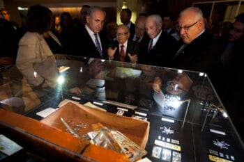 | Eitan center speaks with Benjamin Netanyahu and other Israeli leaders at an Knesset exhibition about his life Sebastian Scheiner | AP | MR Online