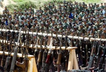 | Members of the Isaelitrained AUC attend a 2005 demobilization ceremony in Cristales Colombia Luis Benavides | AP | MR Online
