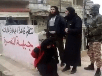 | Syrias alQaeda affiliate Jabhat alNusra executing a woman in public in Idlib in 2015 after she was accused of adultery | MR Online