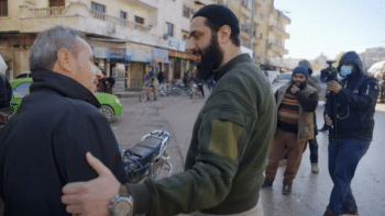 | Mohammad Jolani greeting locals around Idlib as a PBS Frontline crew films | MR Online