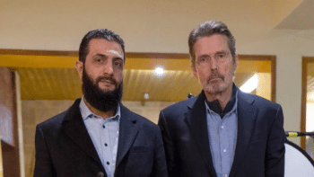 | Syrian Al Qaeda leader Mohammad alJolani L with PBS Frontlines Martin Smith | MR Online
