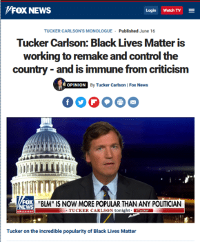 Fox News (6/16/20) presented the popularity of Black Lives Matter as a problem that needed solving.
