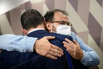 | Ricardo Miranda hugs his brother after their testimony at the senate commission last week Mirandas exposure of Madison Biotechs invoice is now the focus of this rolling investigation Photo Pedro FrançaAgência Senado | MR Online
