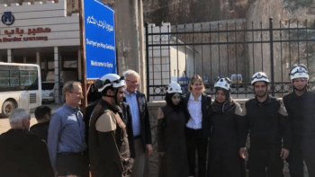 | US Syria envoy James Jeffrey and UN Ambassador Kelly Craft in southern Turkey posing with the White Helmets in March 2020 | MR Online