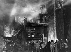 | Living Newspaper OneThird of a Nation Depicting a tenement fire New York City 1938 Directed by Arthur Arent setting by Howard Bay costumes by Rhoda Rammelkamp Courtesy Coast to Coast The Federal Theatre Project 19351939 Library of Congress | MR Online
