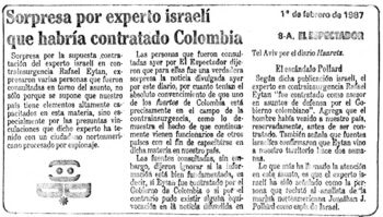 | A nowburied report from the Feb 1987 edition of the Spanish language El Espectador on the hiring of Eitan | MR Online
