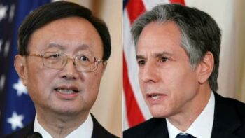 Yang Jiechi, the top Chinese foreign policy official, left, and Antony Blinken, U.S. Secretary of State, in Anchorage, Alaska, in March. Blinken angered the Chinese by lecturing them on human rights even before the meeting began. [Source: ft.com]