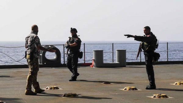 """Tunisian navy personnels aboard USS Hershel """"Woody"""" Williams (ESB 4) on May 23 when the Phoenix Express 2021 was underway. Photo : AFRICOM"""
