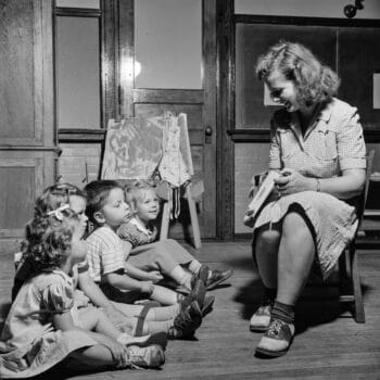 | Children at a childcare center sit for story time Gordon Parks Library of Congress The Crowley Company | MR Online