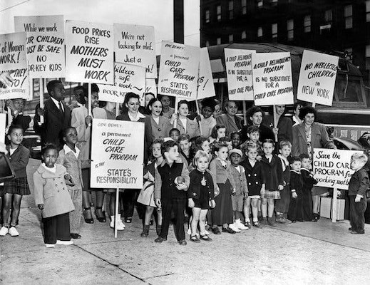 """After WWII, parents organized demonstrations, like this one in New York on Sept. 21, 1947, calling for the continuing funding of the centers. The city's welfare commissioner dismissed the protests as """"hysterical."""" Credit: The New York Times"""