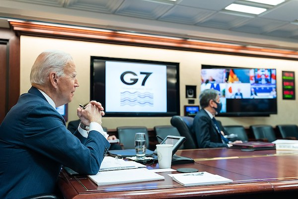   This morning I met with my fellow G7 leaders for the first time as president I made clear that America is back at the table and Im committed to working with them to control the pandemic and address the shared challenges we face Date 19 February 2021 Source httpswwwfacebookcomPOTUSphotosa107570957986108136030625140141type=3theater Photo The White House   MR Online