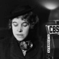 Hallie Flanagan, Director of the FTP Flanagan on CBS Radio for the Federal Theatre of the Air, 1936. Courtesy, Wikipedia Commons.