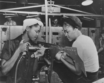 | Luedell Mitchell and Lavada Cherry working at a Douglas Aircraft plant in El Segundo Calif Circa 1944 Credit National Archives photo no 535811 | MR Online