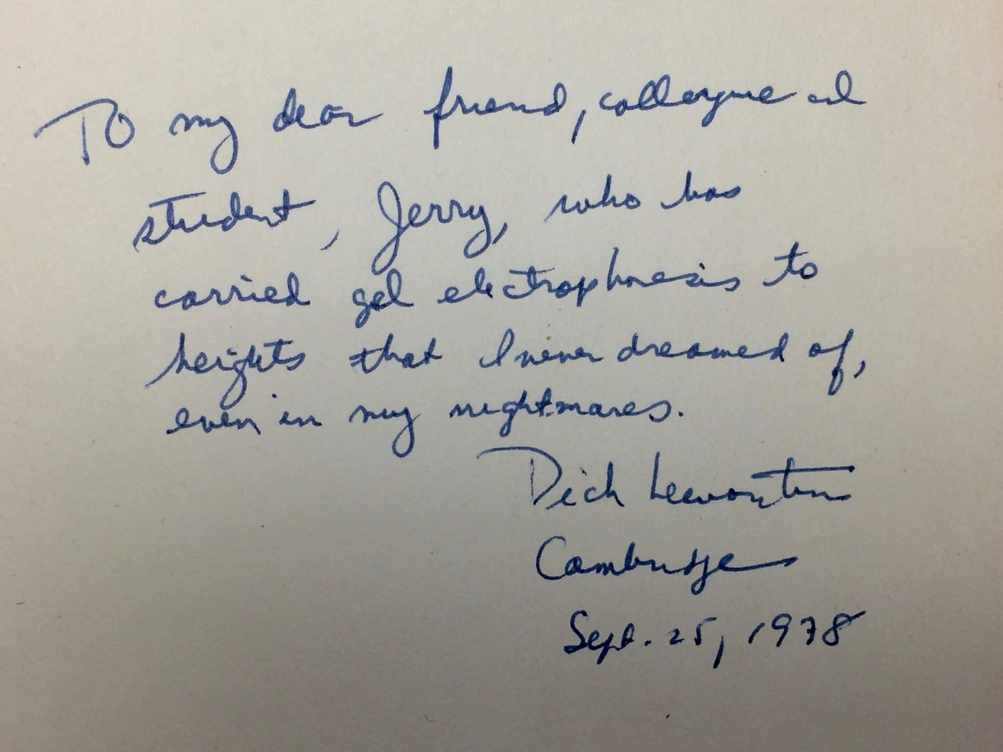 Dick Lewontin 19292021 | MR Online | Inscription in The Genetic Basis | MR Online