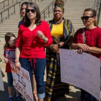 Demonstrators protest critical race theory at the State Capitol in Salt Lake City, May 2021.