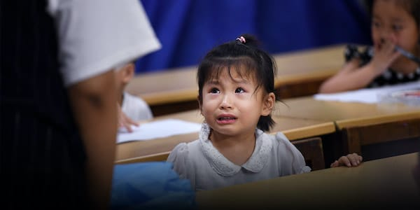 | A child student cries at a tutoring school in Hefei Anhui province 2018 | MR Online