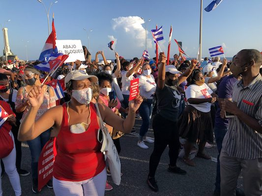   Cubans take part in a mass rally in defence of the Cuban Revolution and calling for an end to US sanctions July 2021   MR Online