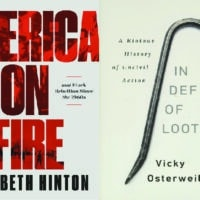 America On Fire: The Untold History of Police Violence and Black Rebellion Since the 1960s by Elizabeth Hinton Liveright, 2021. In Defense of Looting: A Riotous History of Uncivil Action by Vicky Osterweil Bold Type Books, 2020.
