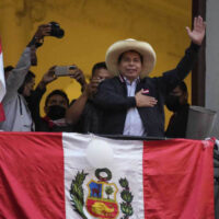 Presidential candidate Pedro Castillo waves