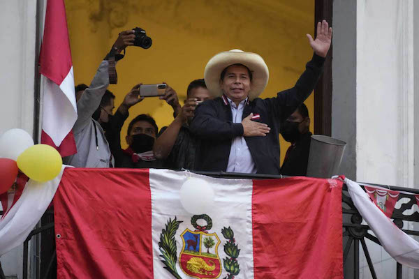   Presidential candidate Pedro Castillo waves   MR Online