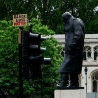 Black Lives Matter placard near Churchill statue