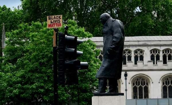 | Black Lives Matter placard near Churchill statue | MR Online
