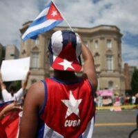 Cuban supporter waves a Cuban flag