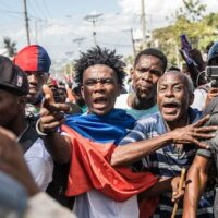 Demonstrators marched in Port-au-Prince on February 14, 2021