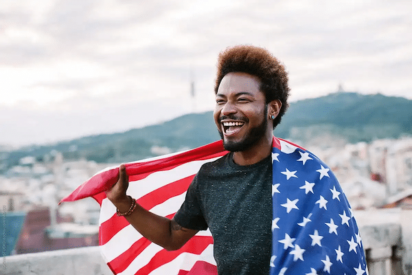 | Man with an American flag | MR Online