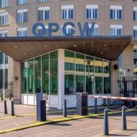the Prohibition of Chemical Weapons (OPCW) pictured outside the headquarters in The Hague, the Netherlands