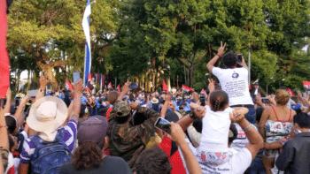 | Ortega proceeded to his speech down Avenida Bolívar | MR Online