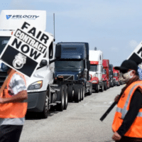 Longshore workers walk off the job in solidarity with Teamsters in San Pedro, Calif.