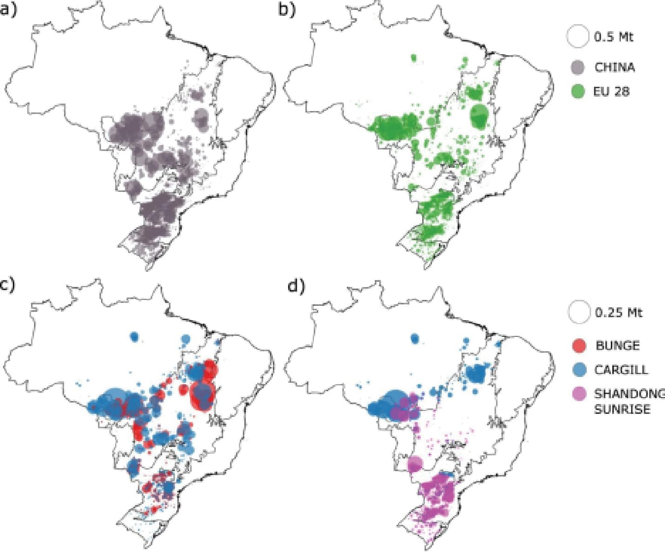 | The spatial origins of soy production in Brazil based on trade data in metric tons | MR Online